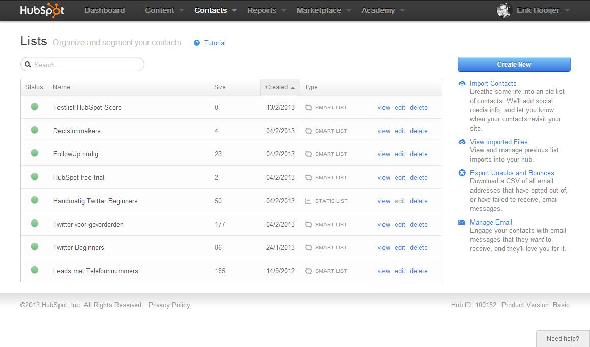 Segmentatie van database voor mail met HubSpot