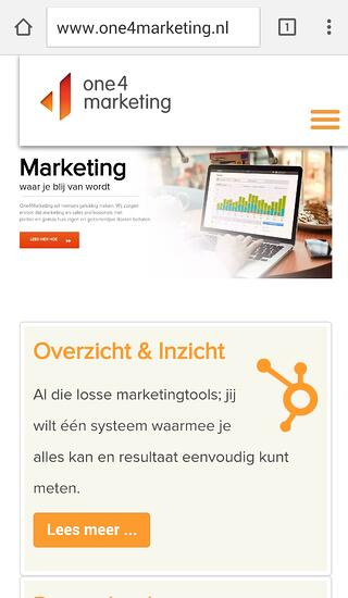 Mobiele website voorbeeld One4Marketing