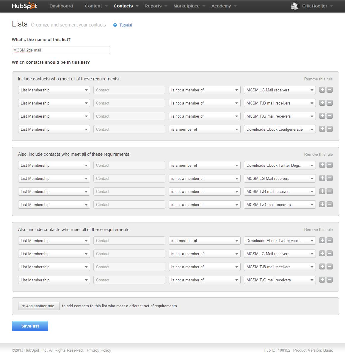 Database mail segmentatie smart lists