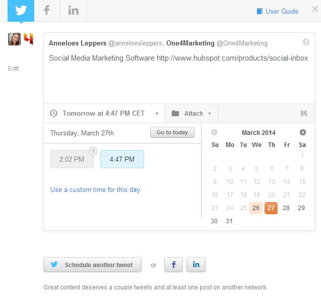 social schedule hubspot