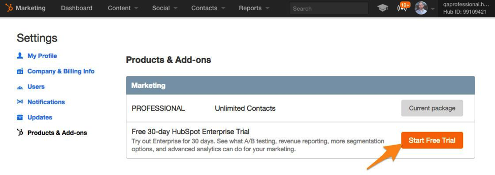 HubSpot-Enterprise-trial