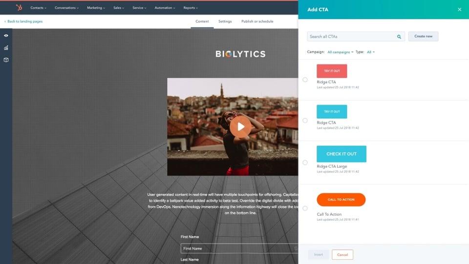 screenshot hubspot video analytics